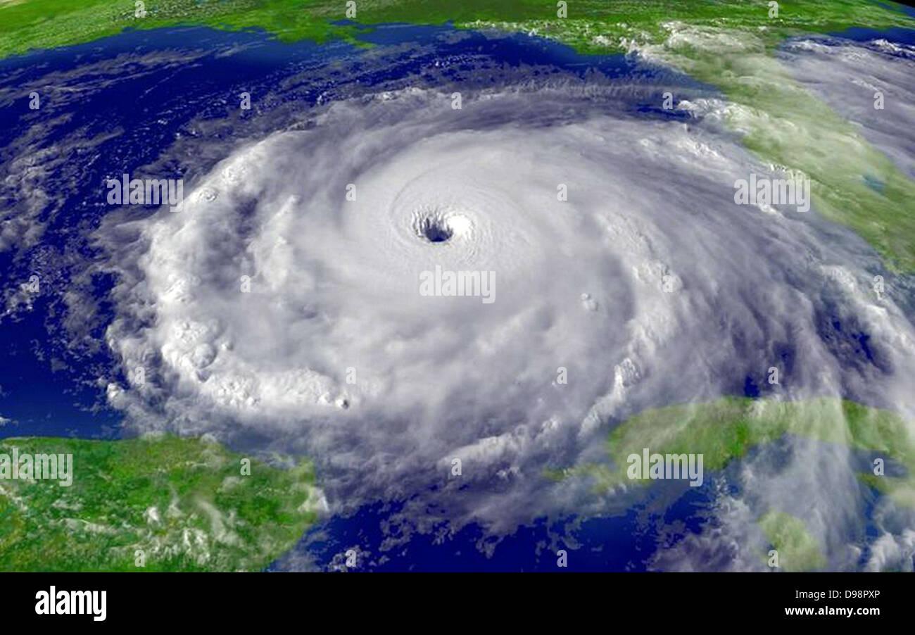 Satellitenfoto des Hurrikan Rita, September 2005. Wissenschaft Tropensturm Cloud Spirale Stockbild