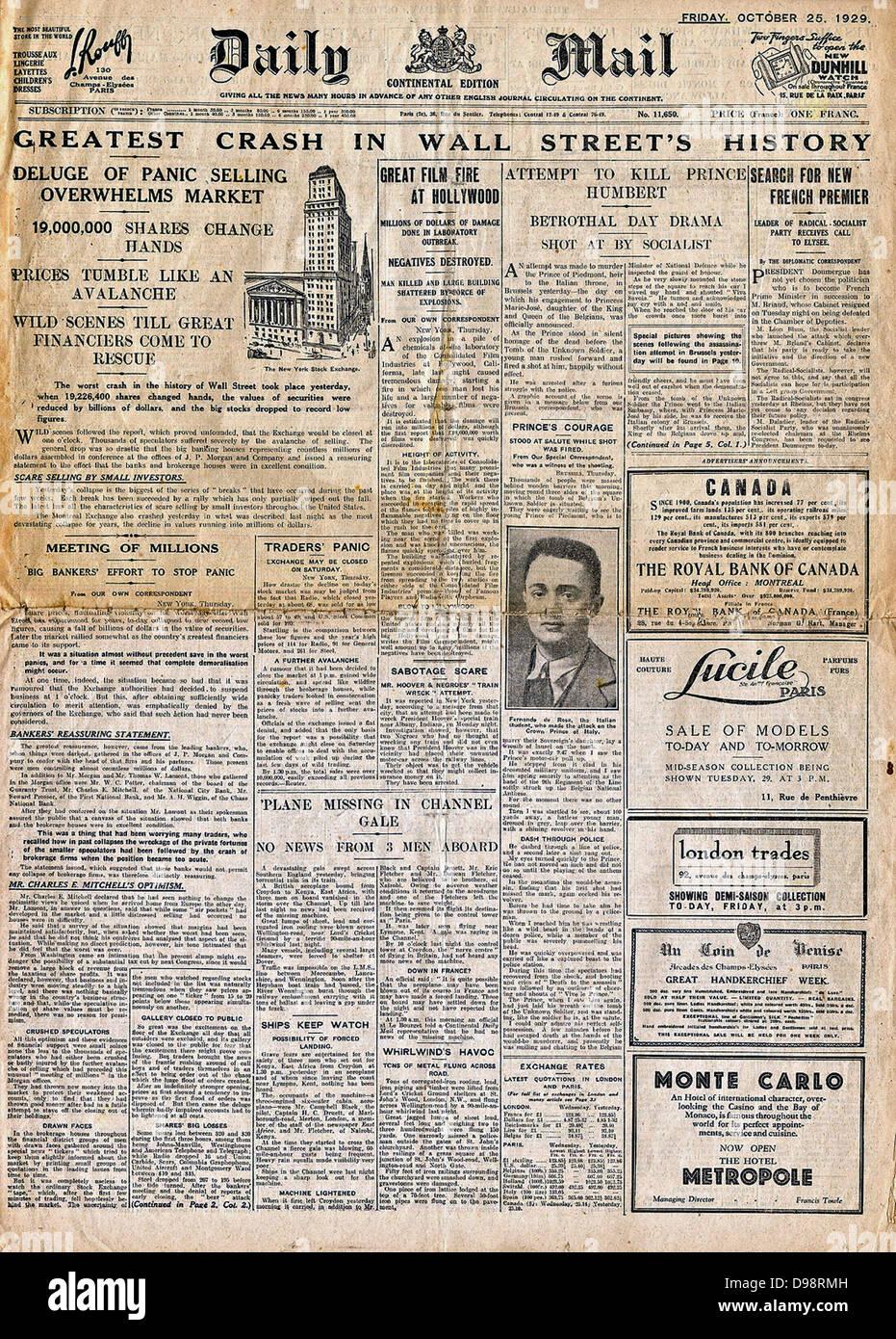 "Wall-Street-Crash ""Schlagzeile 1929 Stockfoto"