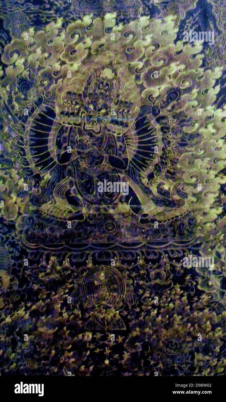 Tibetische Seide Bild illustriert einen Dämon Gott, 18. Jahrhundert Stockbild