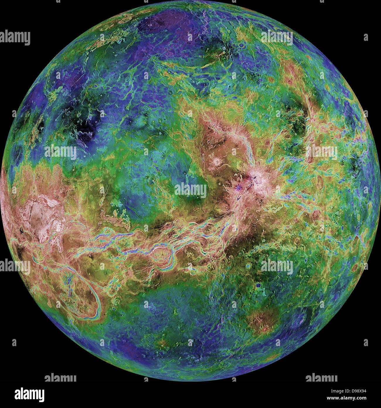 Die hemisphärische Ansicht der Venus, wie von mehr als einem Jahrzehnt der Radar-Untersuchungen, die ihren Stockbild