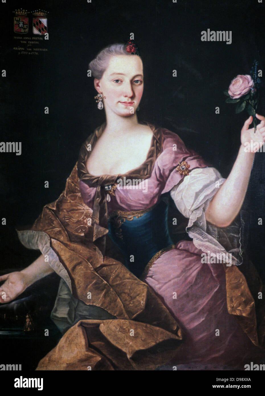Porträt von Anna Maria Baronin Erberg (c1741-1769). Öl auf Leinwand. Forunat Bergant (1721-1769) slowenischer Stockbild