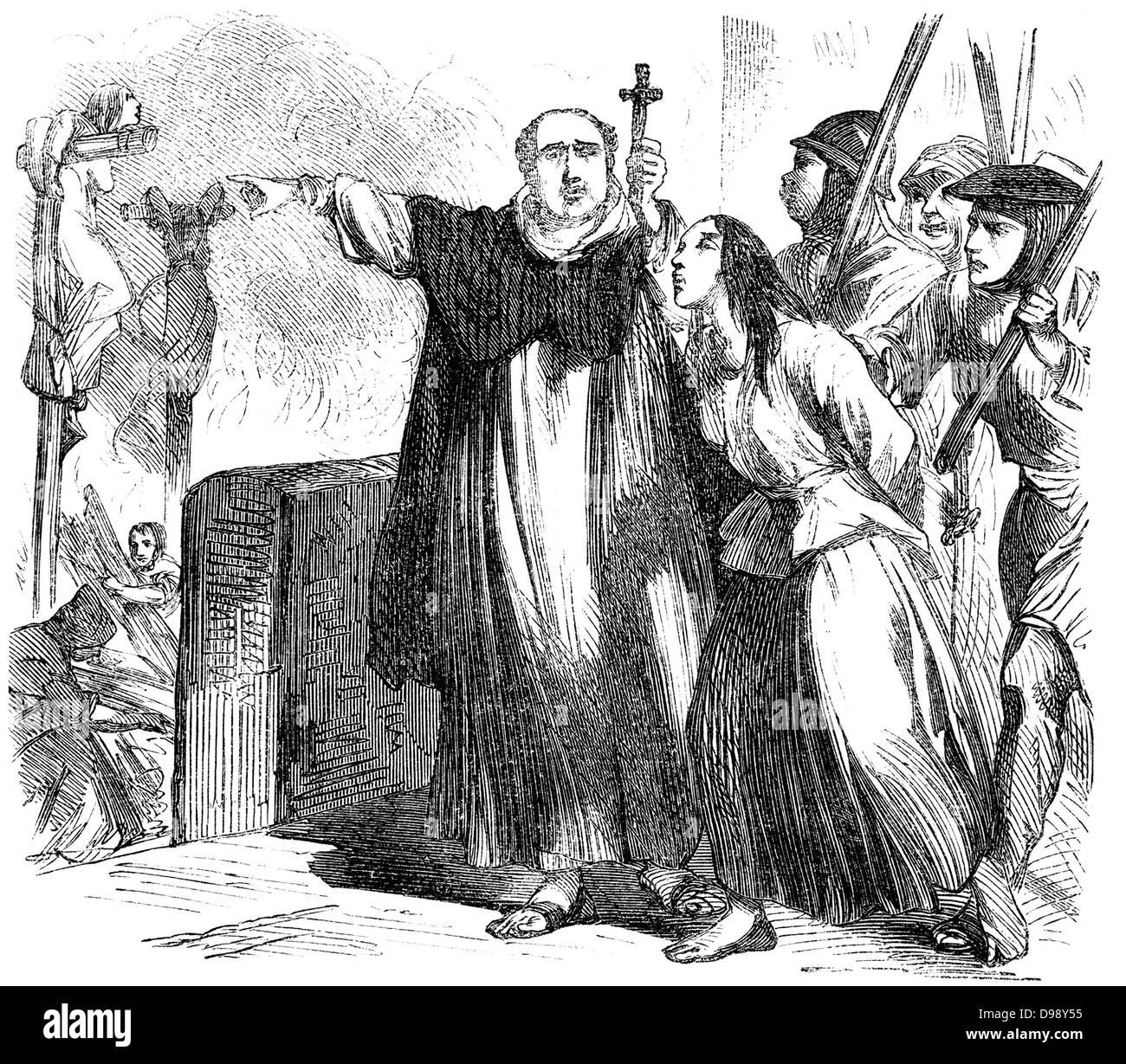 Verbrennen von Hexen in den mittelalterlichen Zeiten, Menschen Bild aus dem 19. Jahrhundert, 1864, Deutschland, Stockbild
