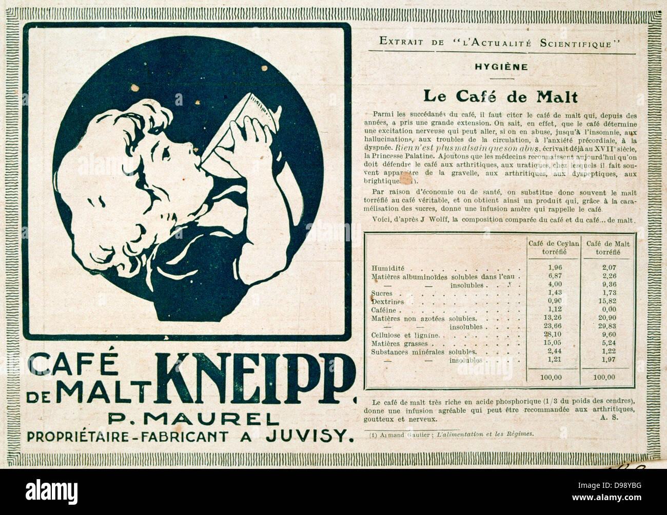 Werbung für ein gemälzte koffeinfreie Getränk. Von der französischen ...
