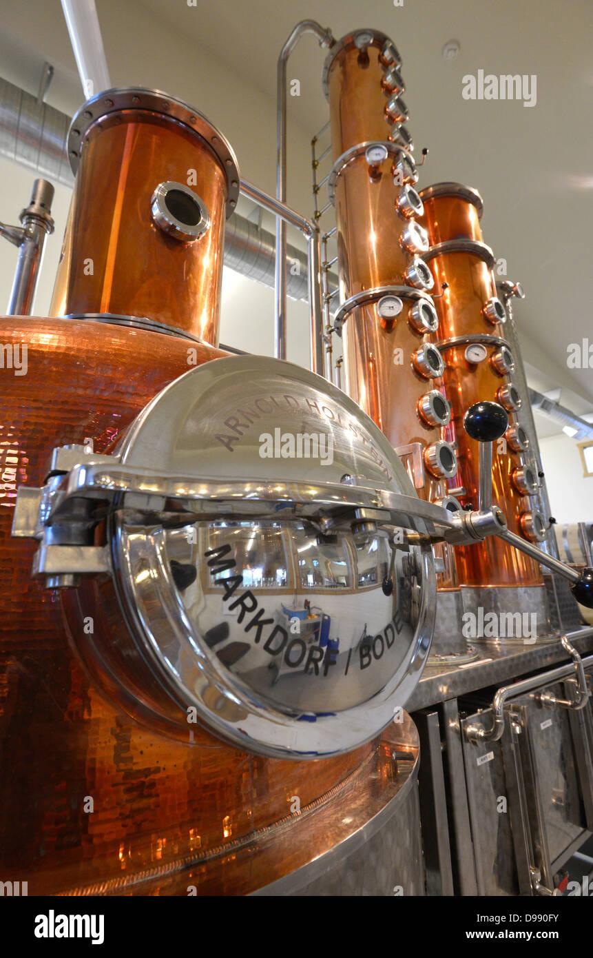Handwerklich gefertigt nach wie vor in der Stein-Destillerie in Joseph, Oregon. Stockbild