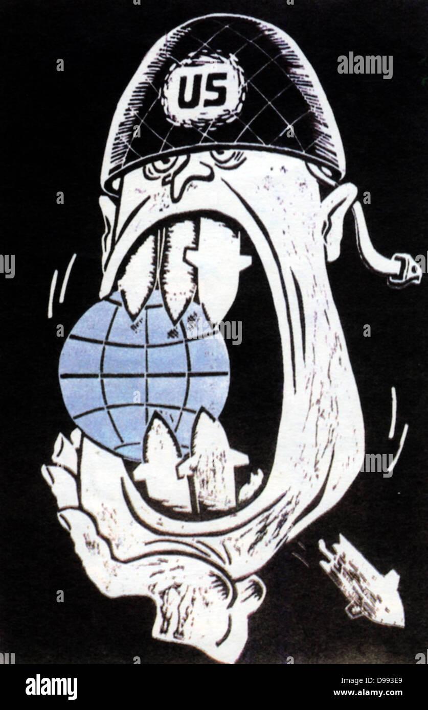 Sowjetischen russischen Karikatur aus der Zeit des Kalten Krieges. 1960 Stockbild