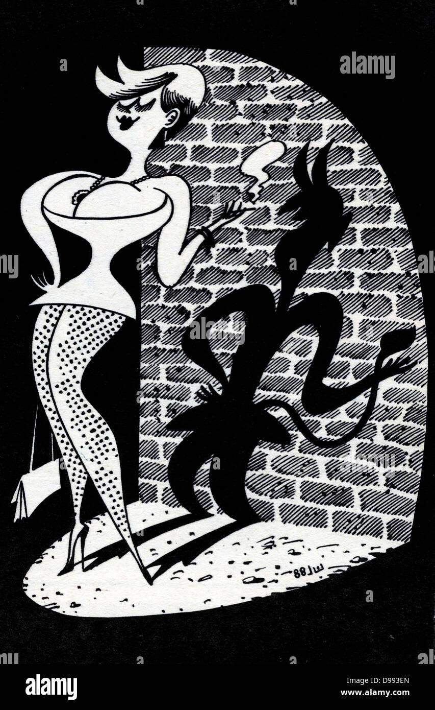 Sowjetische und russische Cartoon Satire auf die moderne Frau. 1980 Stockbild