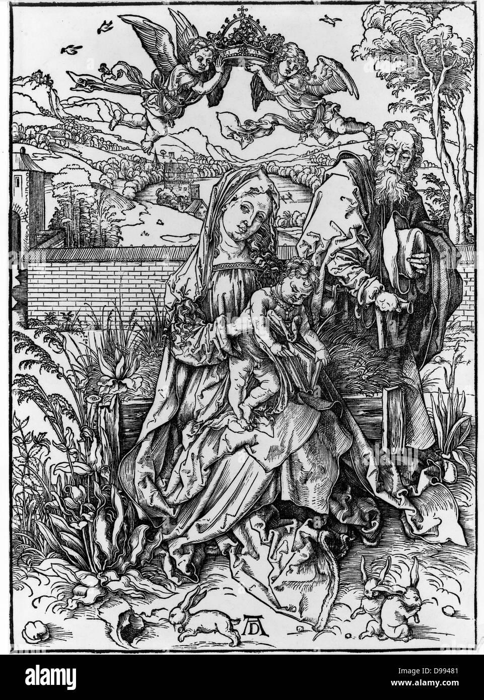 Die Jungfrau mit Kind hält einen Buch, von Albrecht Dürer, 1471-1528 deutscher Künstler. Veröffentlichten Stockbild