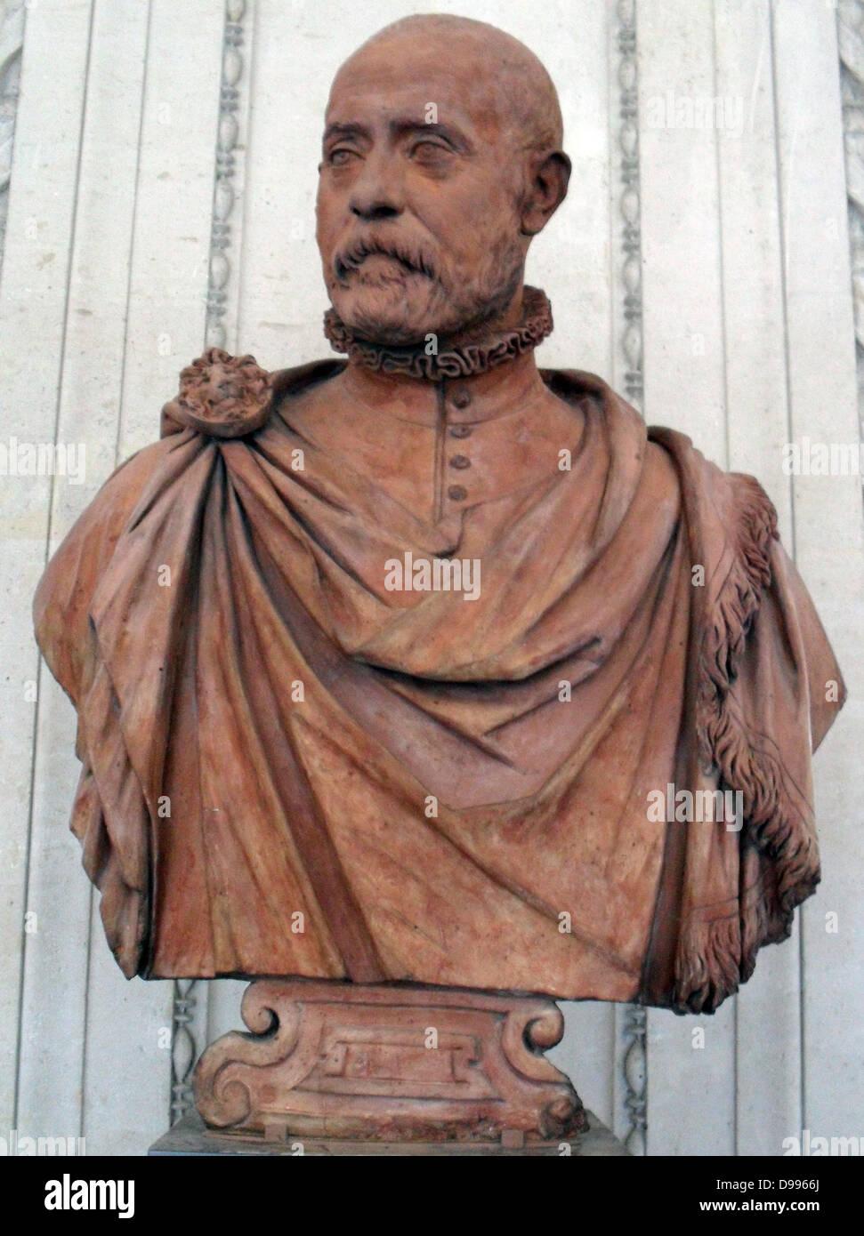 Alessandro Vittoria, Trent, 1525-Venedig, 1608. Porträt des venezianischen Patrizier. Terrakotta Stockbild