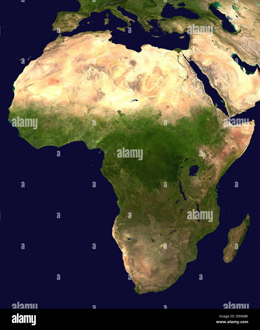 Zusammengesetzten Satellitenbild von Afrika Stockbild