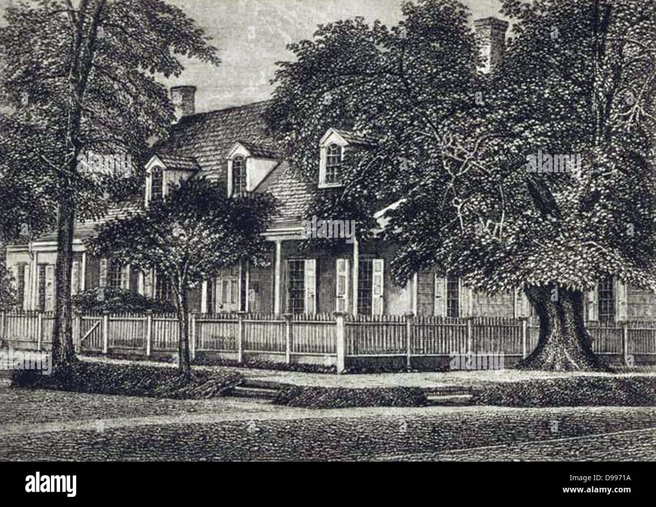 Zabriskie Gehöft im Jahre 1839. Peter Lawrence Schenck, 1843-Künstler Stockbild