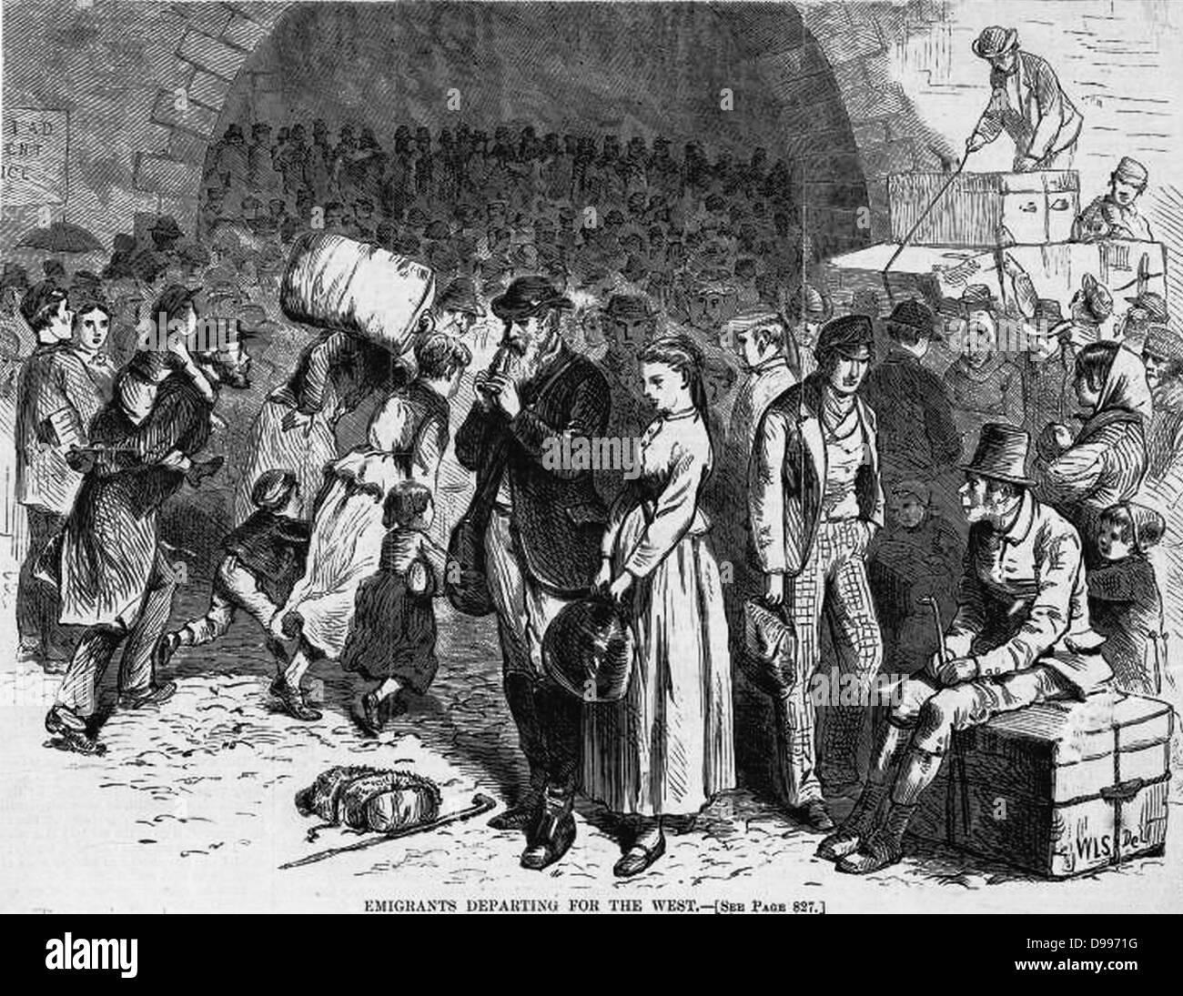 Auswanderer nach Westen. 1871 Stockbild