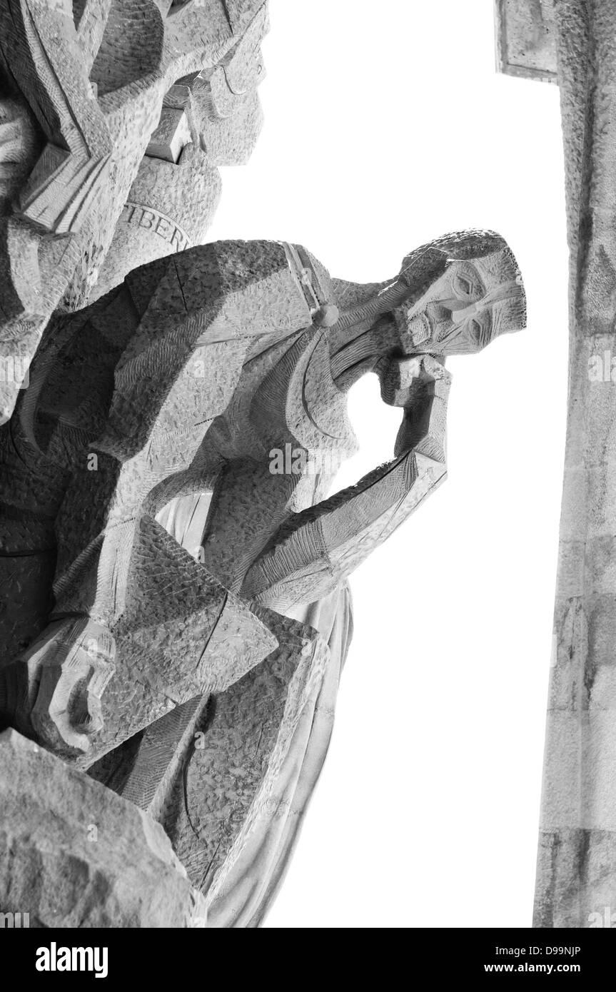 Monochromatische architektonische Details von der Kathedrale Sagrada Familia in Barcelona, Spanien Stockbild