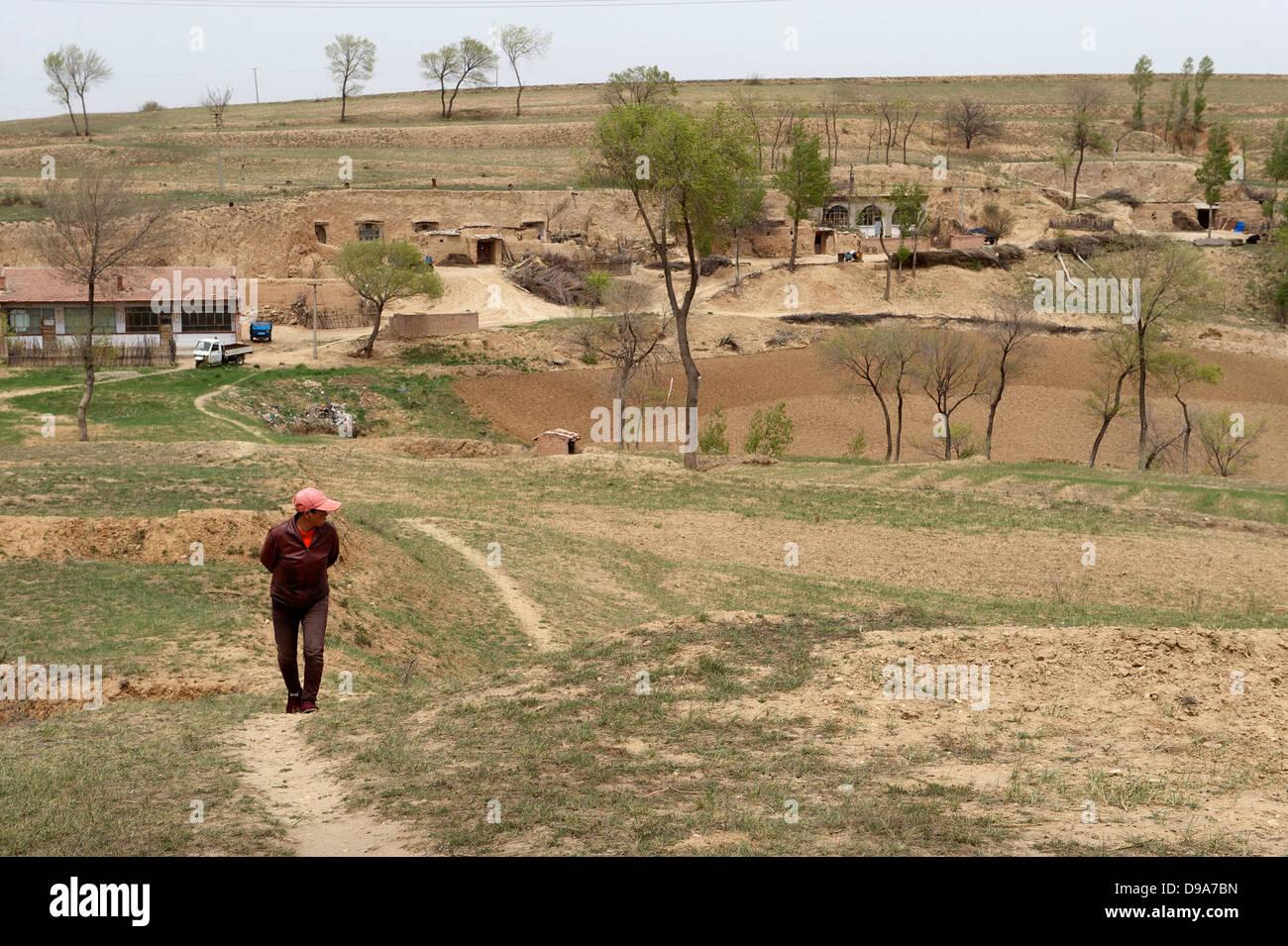 Eine Höhle Wohnung Dorf in Qingshuihe County in der Inneren Mongolei im China.11 Mai 2011 Stockbild