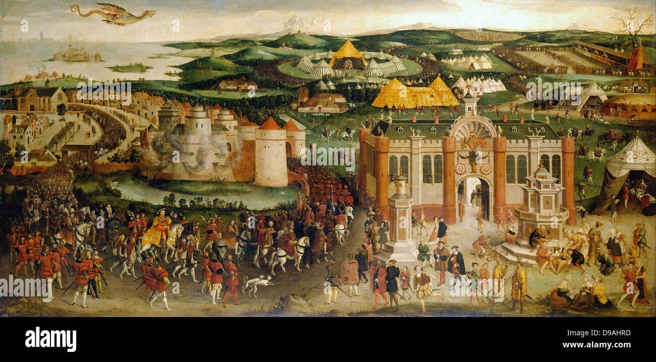 Das Treffen von Francis I und Heinrich VIII. auf dem Gebiet der Cloth of Gold im Jahre 1520 Stockbild