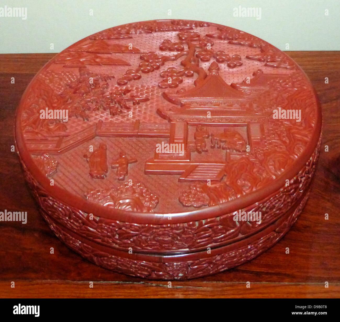 Box mit Landschaftsgestaltung. Geschnitzte Lack auf Holz. 1403-24, Ming-Dynastie, Yongle Herrschaft Periode. Stockfoto