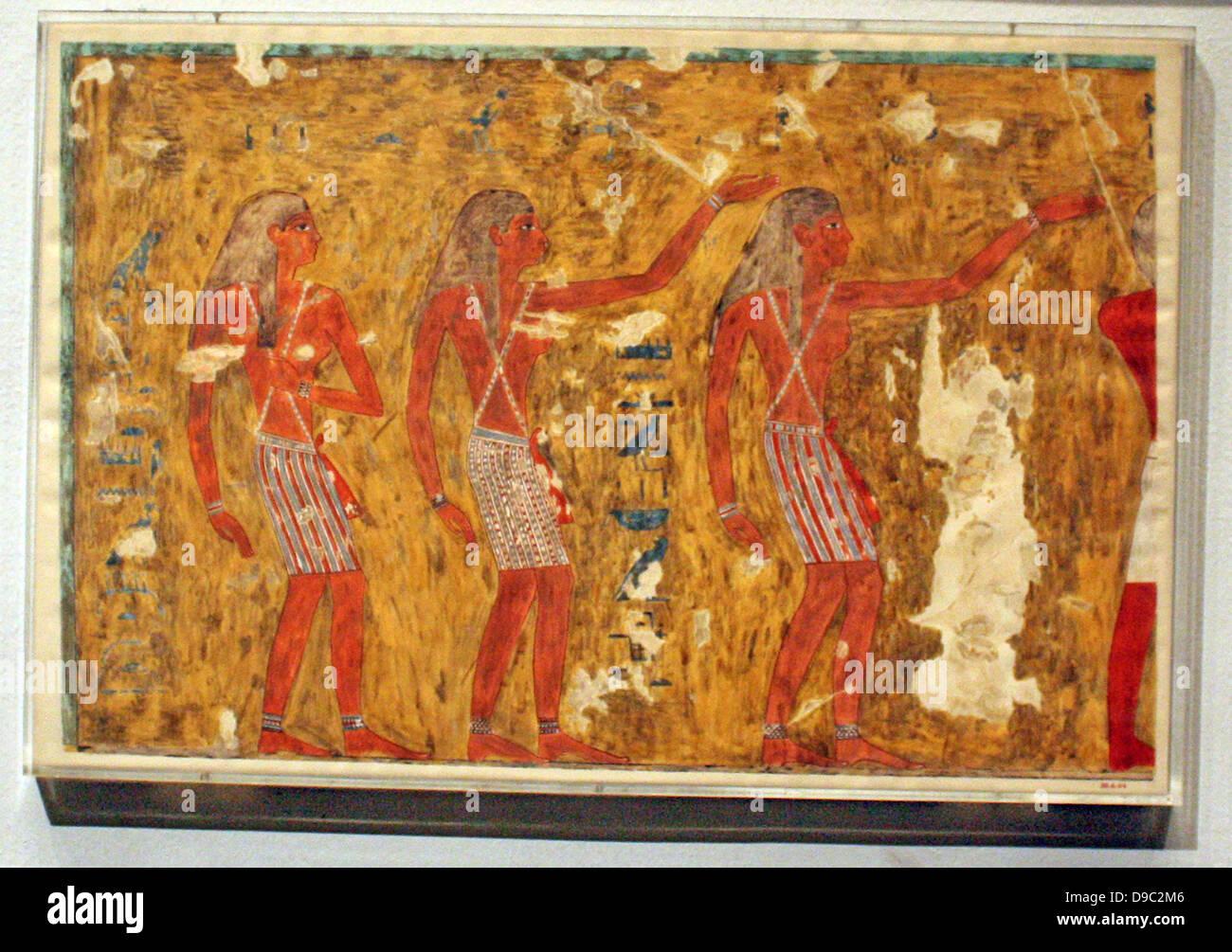 Ägyptische Wandmalereien aus dem Neuen Reich, facsimies der alten  ägyptischen Wanddekoration. Sie sind exakte Kopien der Original Szenen,  exakte in Linie und Farbe und, von wenigen Ausnahmen abgesehen, im Maßstab  1:1 Stockfotografie -