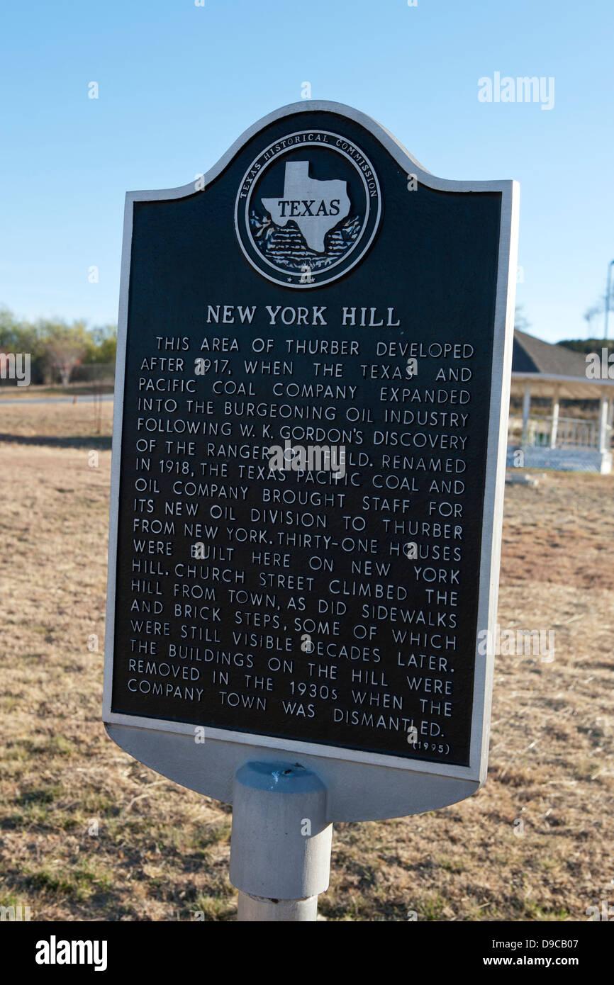 NEW YORK Hügel dieser Gegend von Thurber entwickelt nach 1917, als die Texas und Pacific Coal Company in der Stockbild