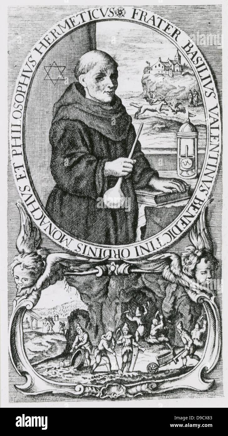 Basil Valentine oder Basilius Valentinus (aktive 1470), legendäre deutsche Mönch und Alchemist. Ein Exponent Stockbild