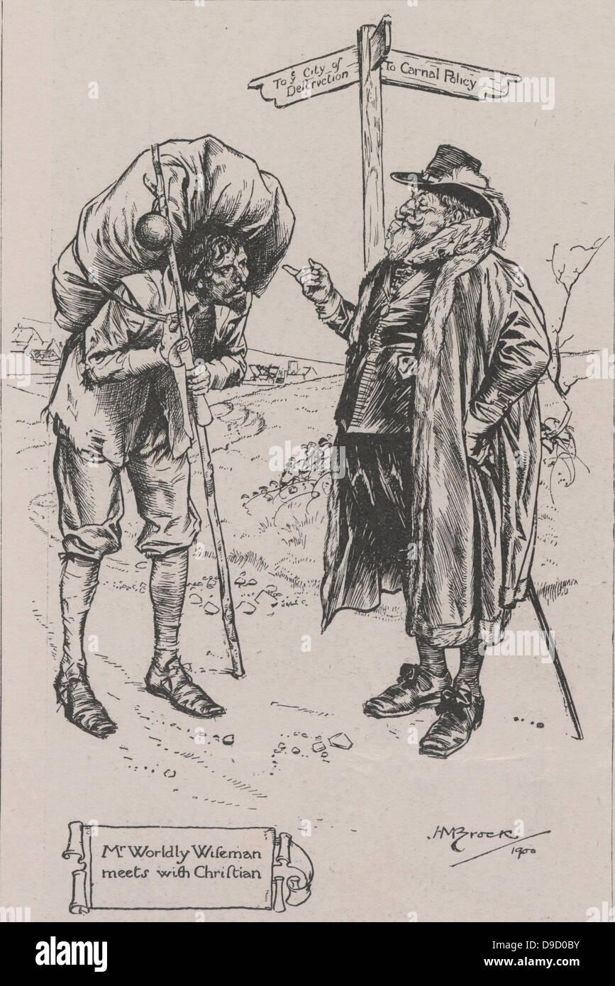 Herr Worldly Wiseman trifft sich mit Christian, der Pilger des Titels.  Illustration von 1900 Auflage der Pilger Stockbild