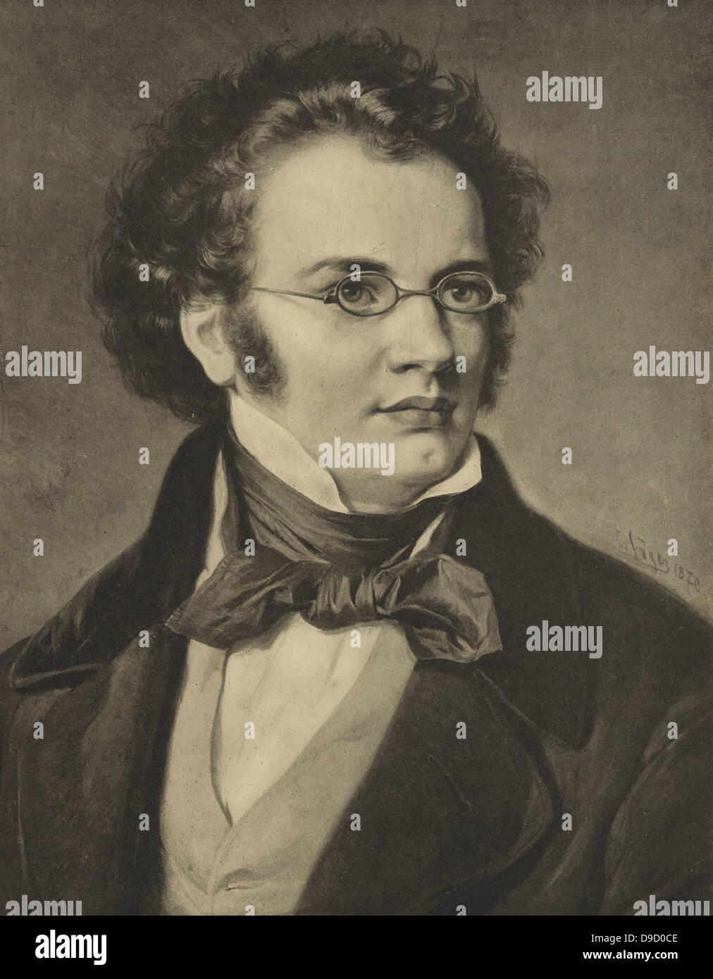 Franz Peter Schubert (1797-1828) österreichischer Komponist der frühen Romantik.  Gravur. Stockbild