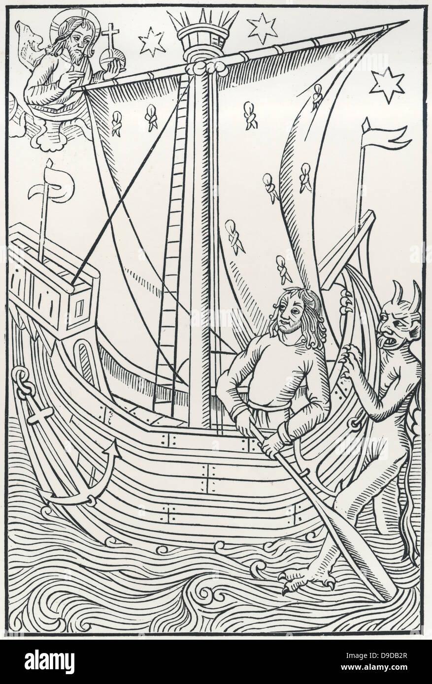 Der Teufel, der Steuermann eines Schiffes verlockend.  Holzschnitt aus einer frühen gedruckten Ausgabe von Stockbild