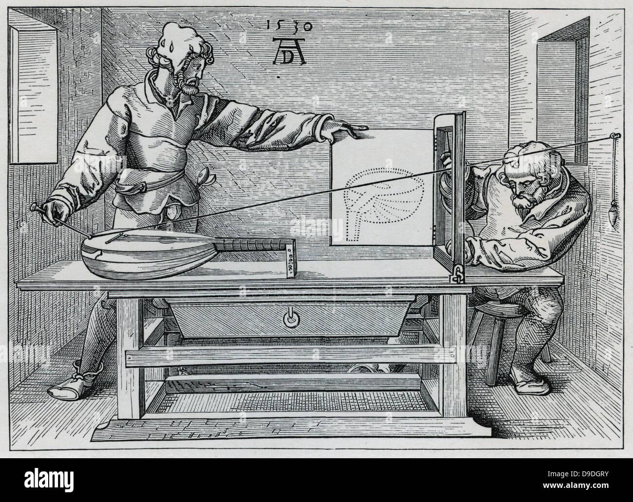 Verwenden einen Rahmen um eine laute in wahre Perspektive zeichnen. Nach 1535 print von Albrecht Dürer. Stockbild