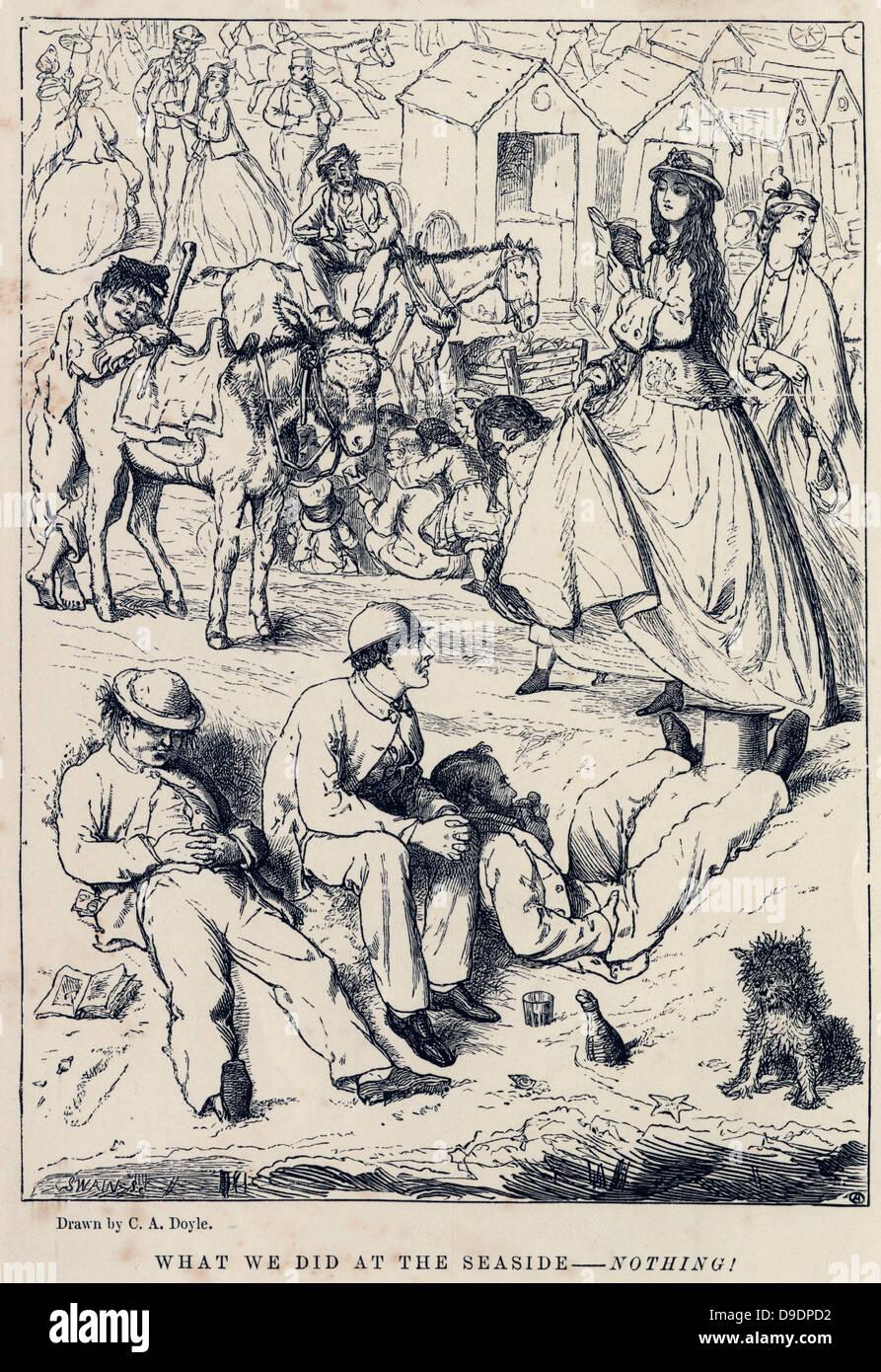 Was wir am Meer - Tat nichts.  Cartoon von 1882 Stockbild