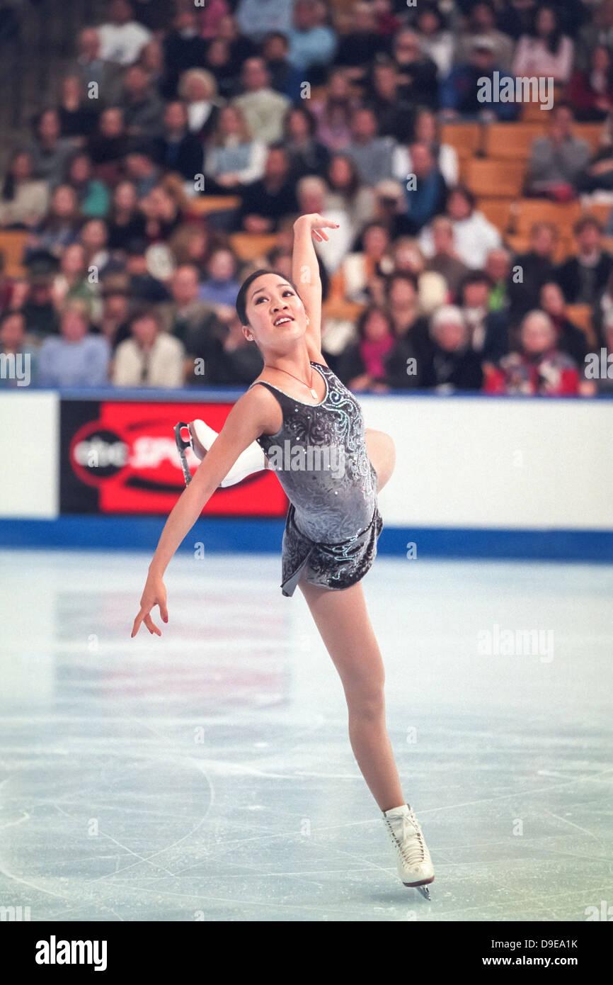 Michelle Kwan (USA) im Wettbewerb bei den 2001 uns nationalen Meisterschaften. Stockbild
