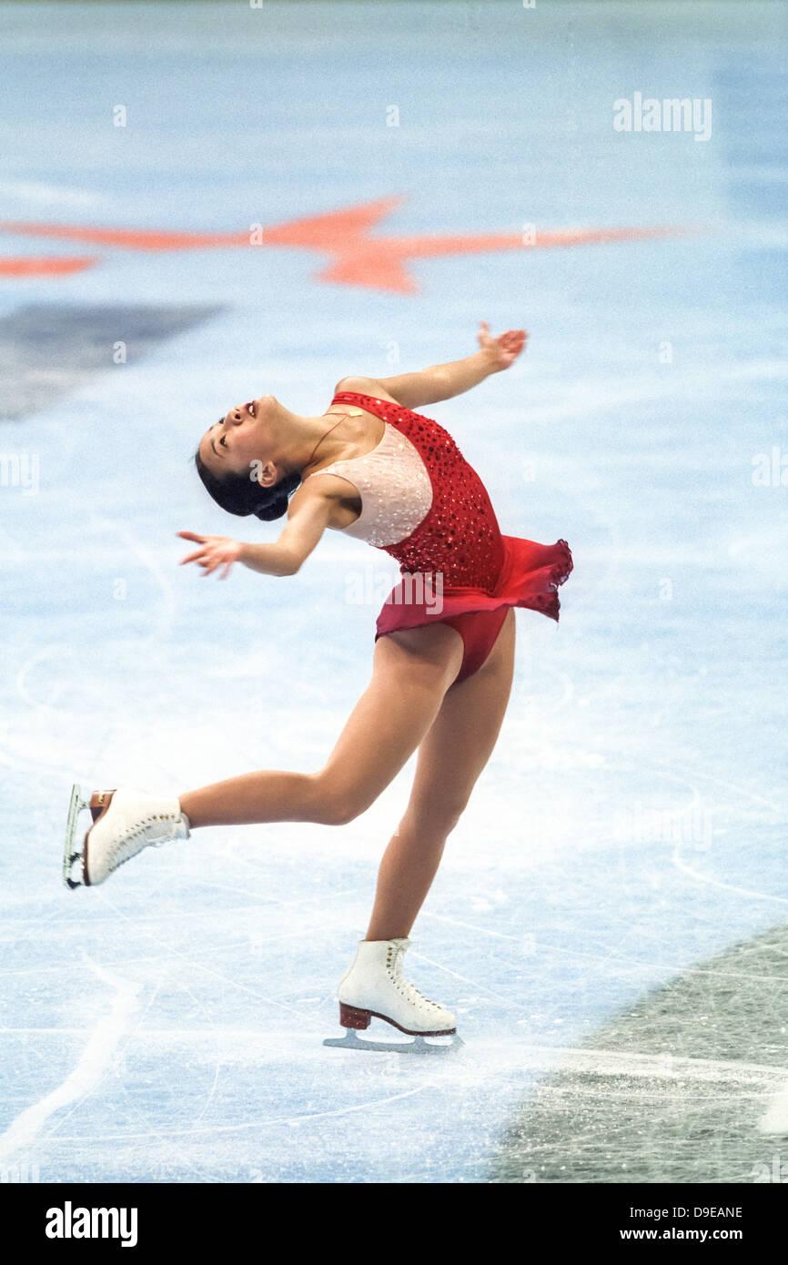 Michelle Kwan (USA) im Wettbewerb bei den Goodwill Games 1998 Stockbild