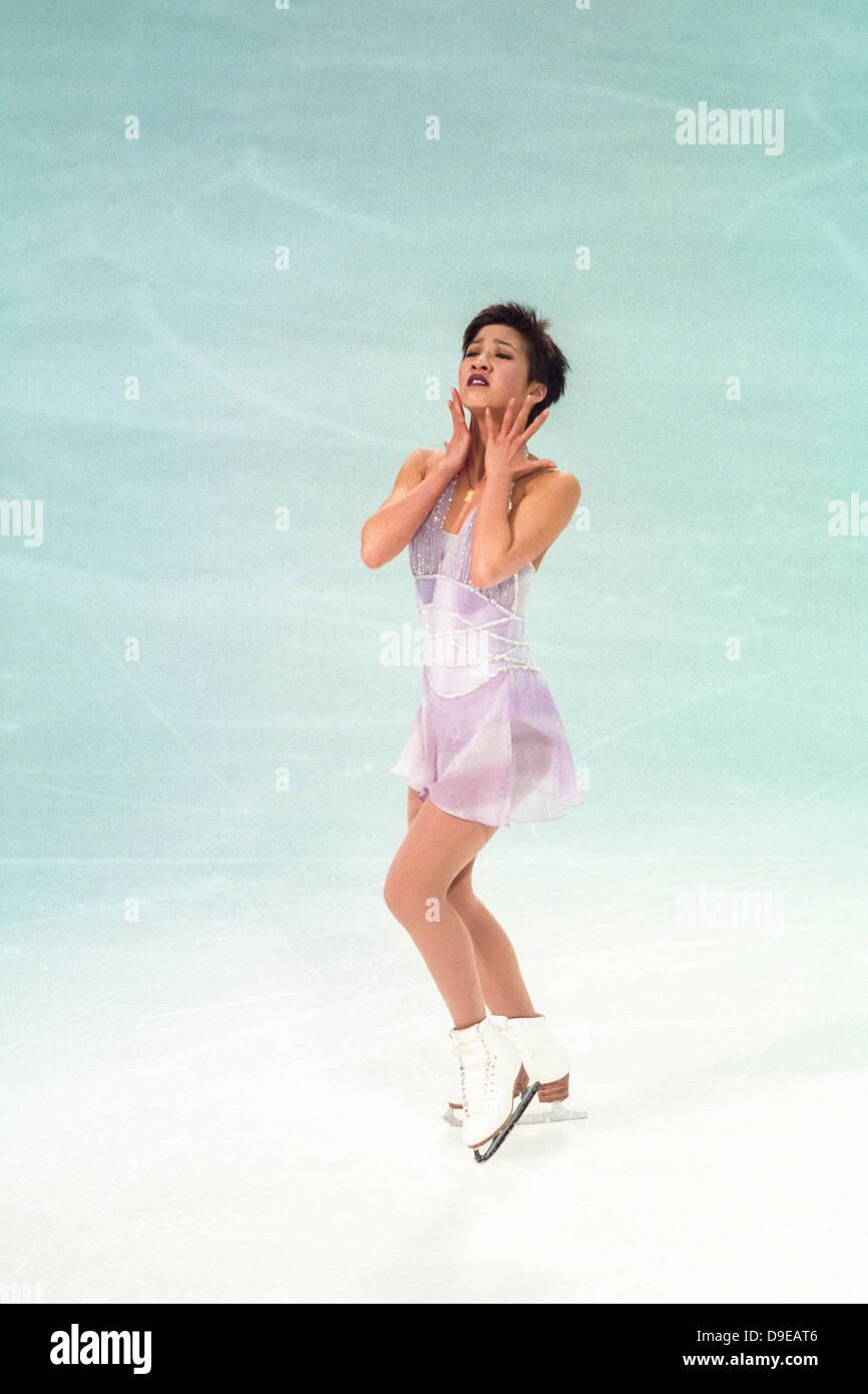 Michelle Kwan (USA) im Wettbewerb bei der Pro WM 1998, Stockbild