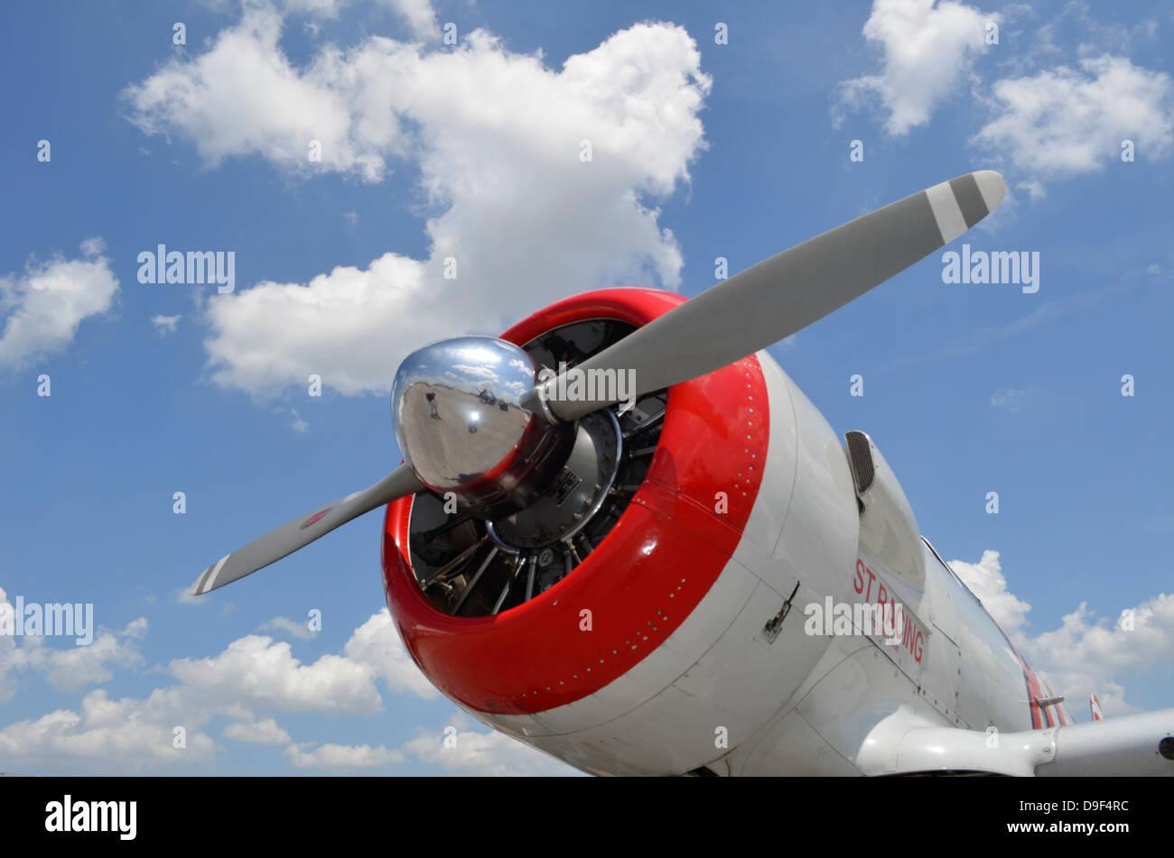 Nahaufnahme des Propellers auf einer North American Aviation AT-6 Texan Warbird. Stockbild