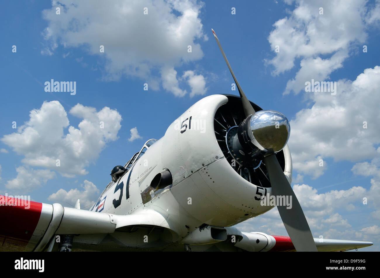 Nahaufnahme des Propellers auf einer North American Aviation Harvard II Warbird. Stockbild