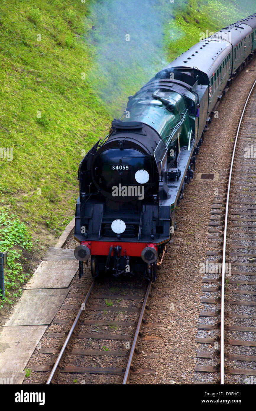 Dampfzug auf Bluebell Railway, Horsted Keynes, West Sussex, England, UK Stockbild
