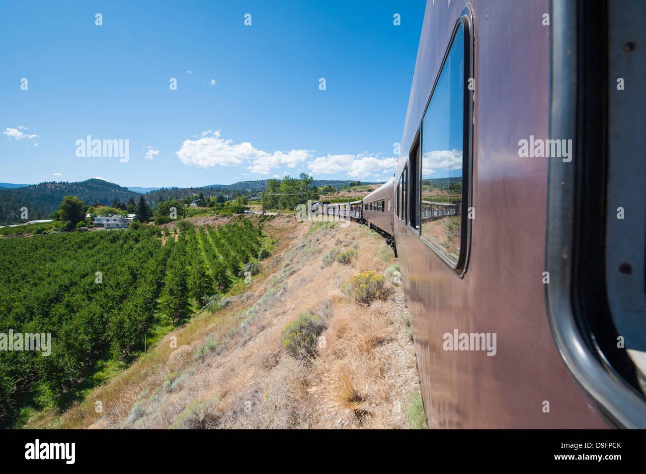 Kettle Valley Dampfeisenbahn, Summerland, British Columbia, Kanada Stockbild