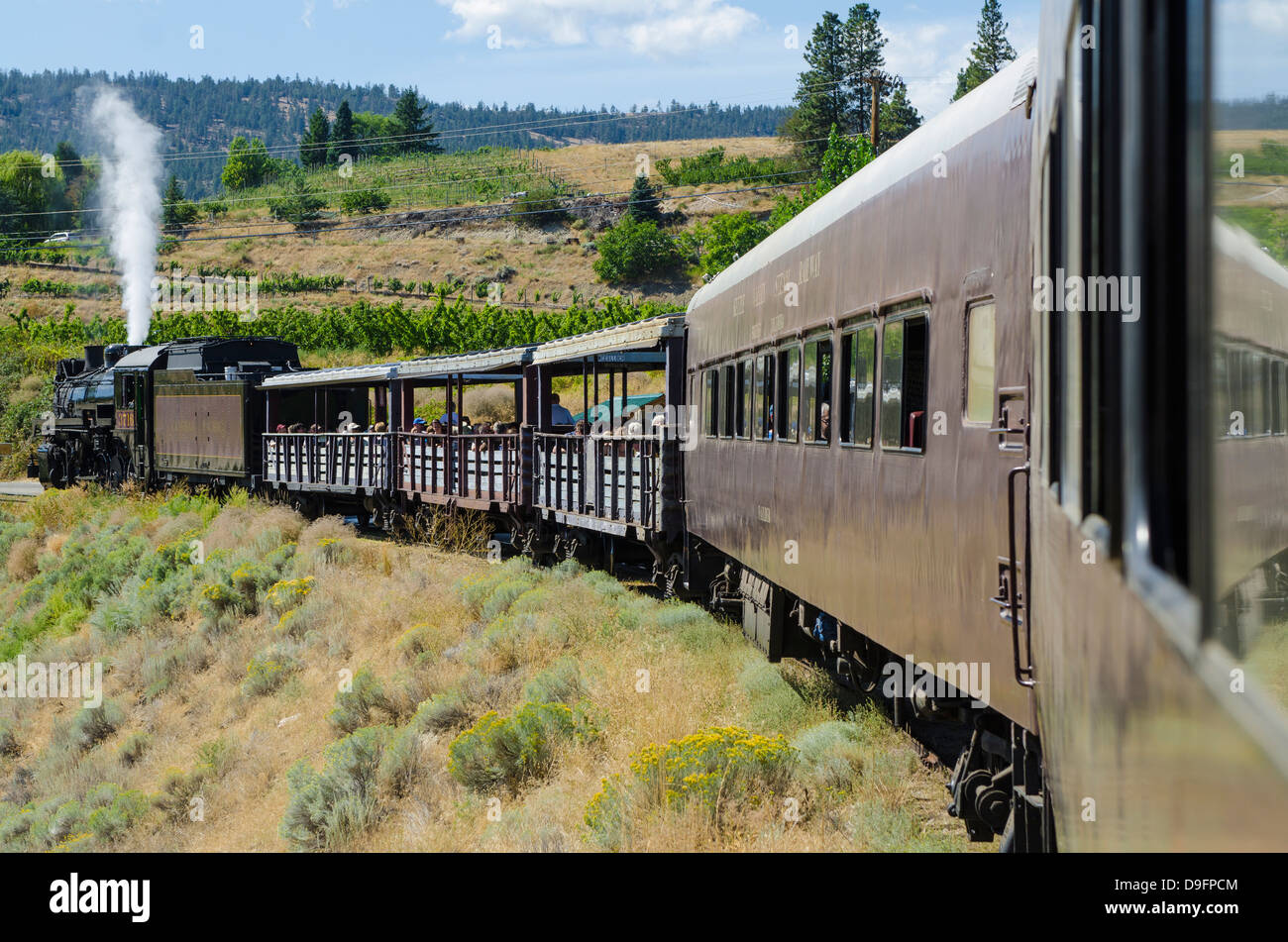 Kettle Valley Dampfeisenbahn, Summerland, British Columbia, Kanada Stockbild