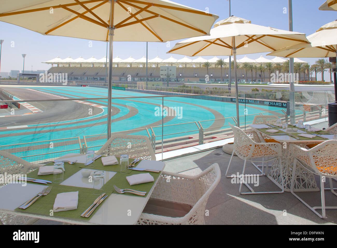 F1 Rennstrecke Yas Island, Abu Dhabi, Vereinigte Arabische Emirate, Naher Osten Stockbild