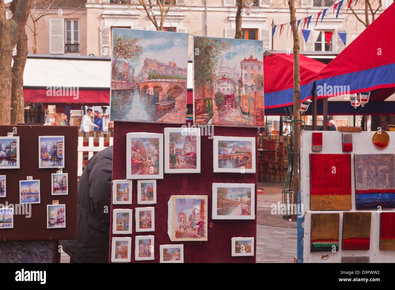 Gemälde zum Verkauf an die berühmten Place du Tertre in Montmartre, Paris, Frankreich Stockbild