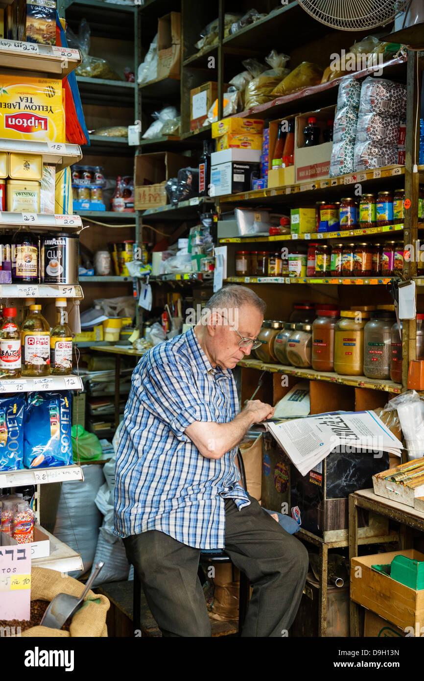 Lebensmittelgeschäft Mahane Yehuda Markt, Jerusalem, Israel. Stockbild