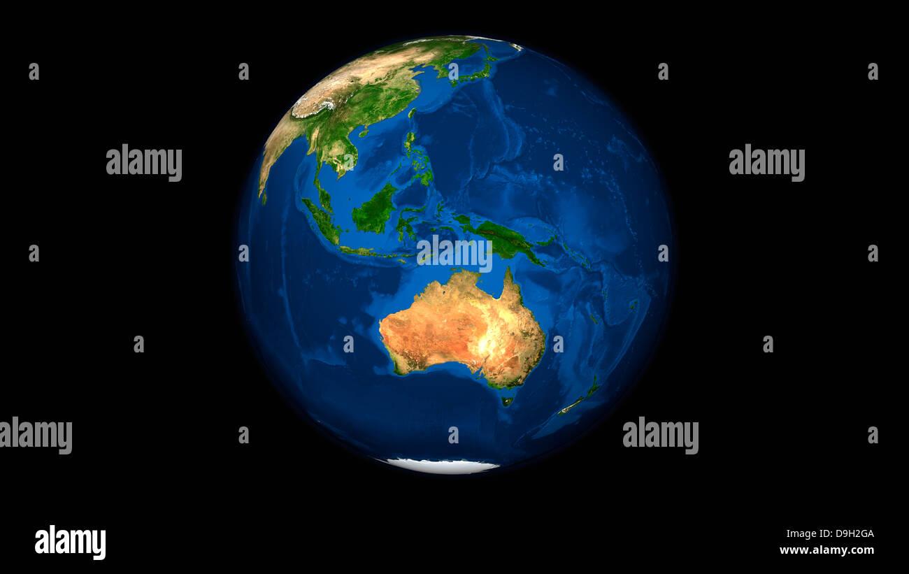 Blick auf die voll Erde zeigt Indonesien, Ozeanien und dem Kontinent Australien. Stockbild