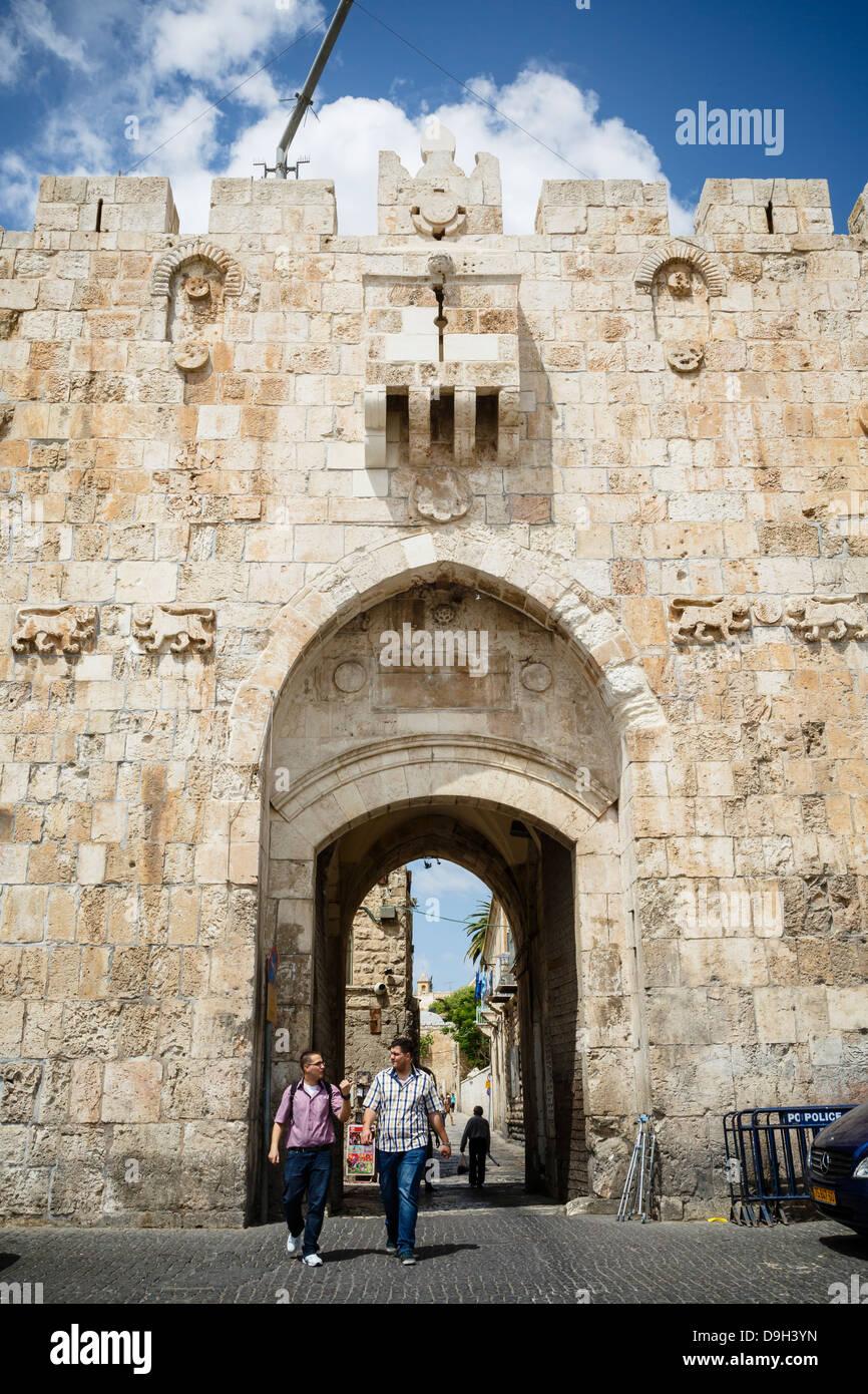 Das Löwen-Tor in der alten Stadt, Jerusalem, Israel. Stockbild