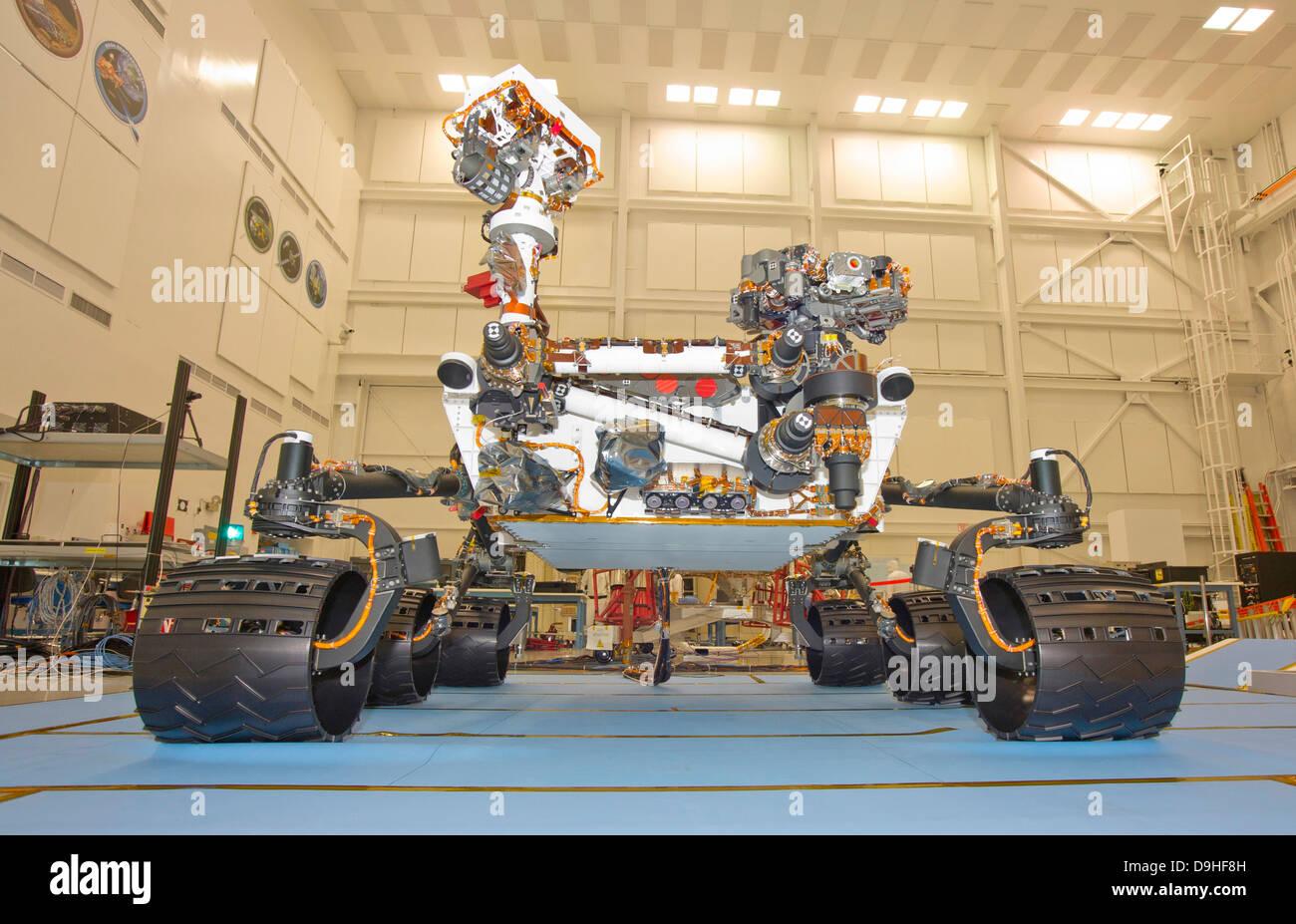 Mars Science Laboratory Rover, Neugier, während Mobilität zu testen. Stockbild