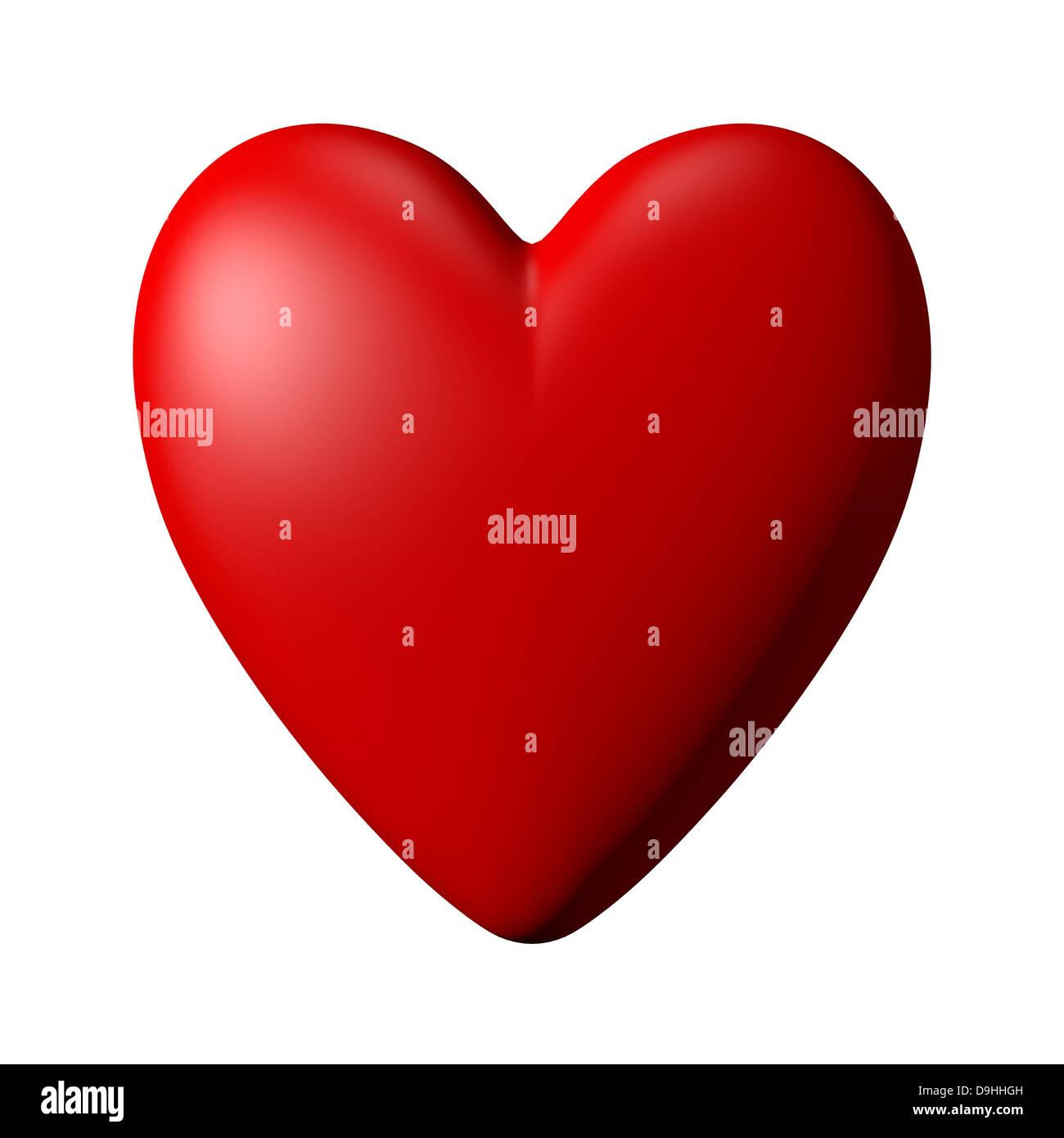 Rotes Herz mit weißem Hintergrund Stockbild