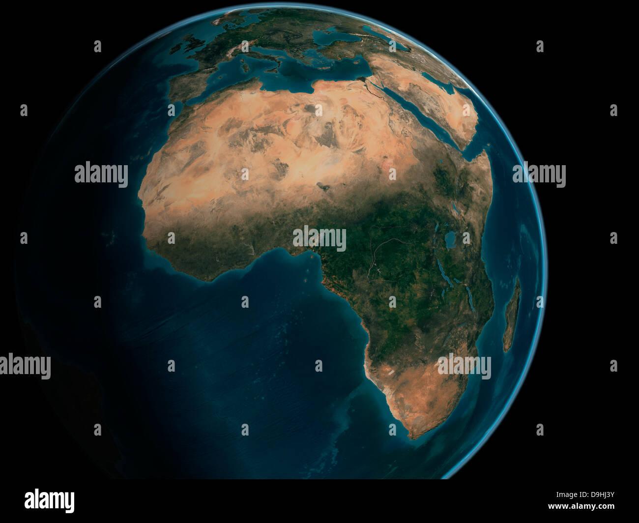 Voll Erde aus dem Weltraum über dem afrikanischen Kontinent. Stockbild
