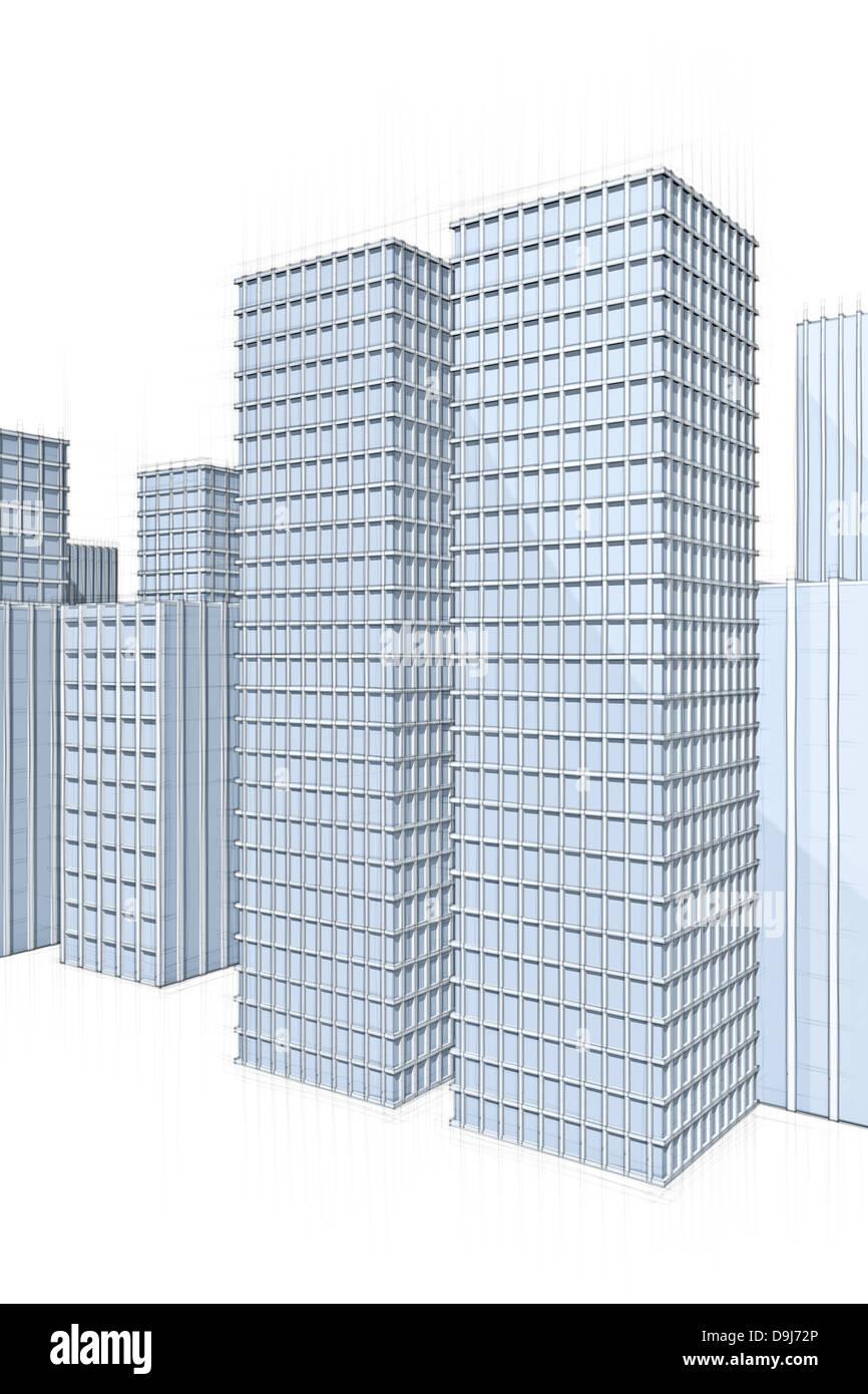 Skizze Der Architektur Moderne Wolkenkratzer In Grossstadt