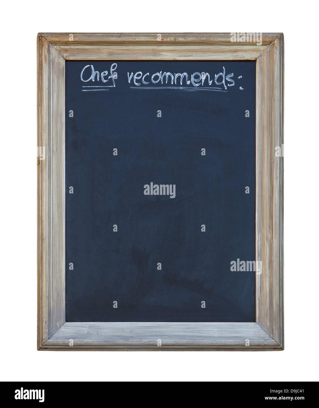 Küchenchef empfiehlt Tafel mit Beschneidungspfad Stockfoto, Bild ...
