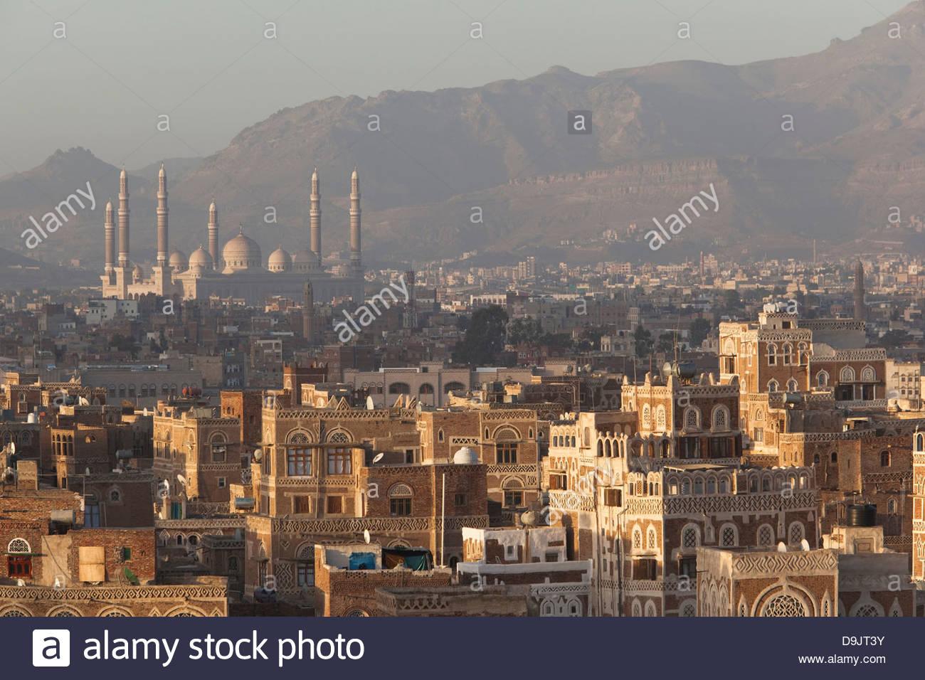 Dächer der Altstadt, Sana'a, ein UNESCO-Welterbe seit über 2500 Jahren bewohnt ist. Sanaa, Jemen. Stockbild