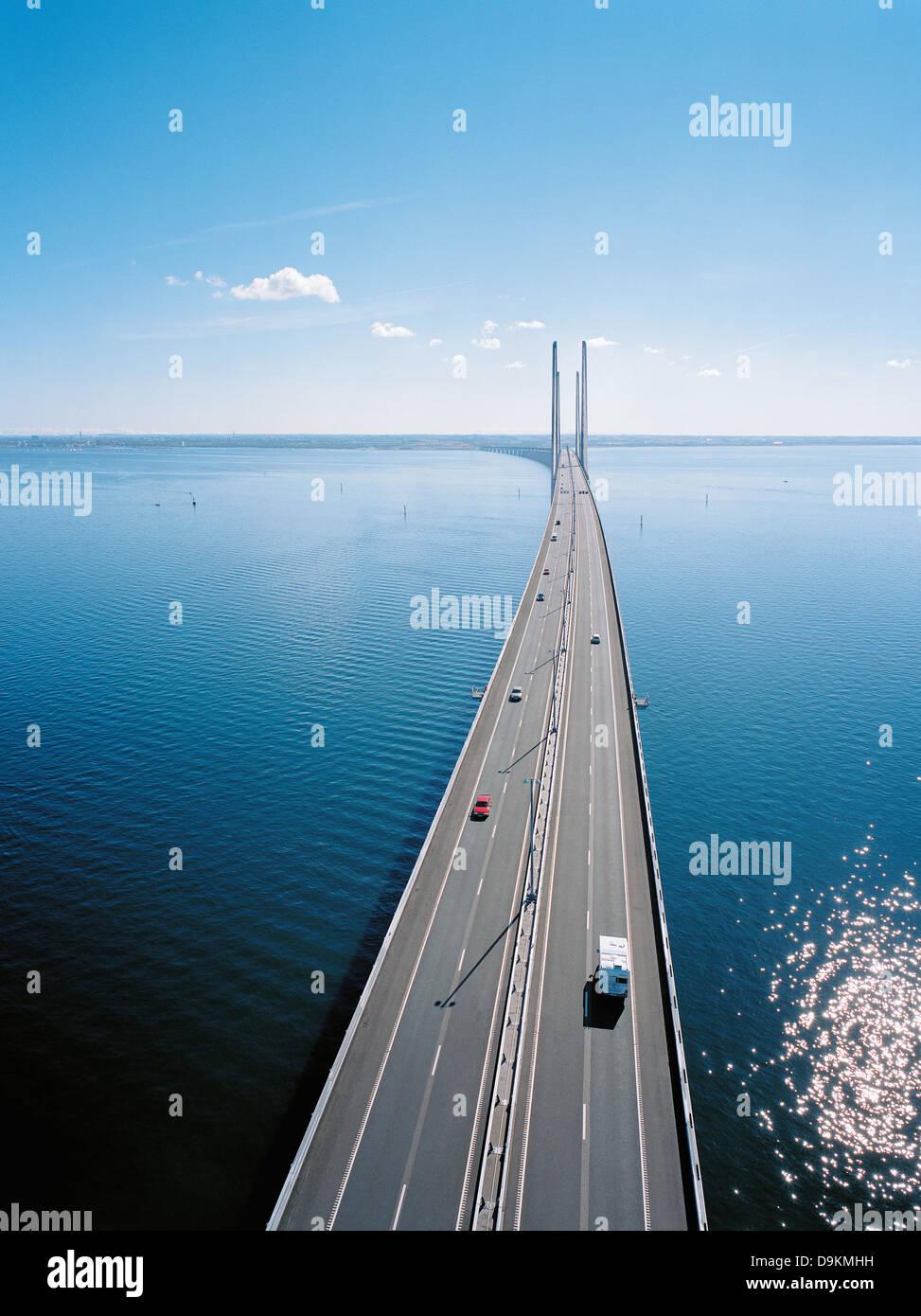 Verkehr auf der Öresund-Brücke von Dänemark nach Schweden, Europa Stockbild