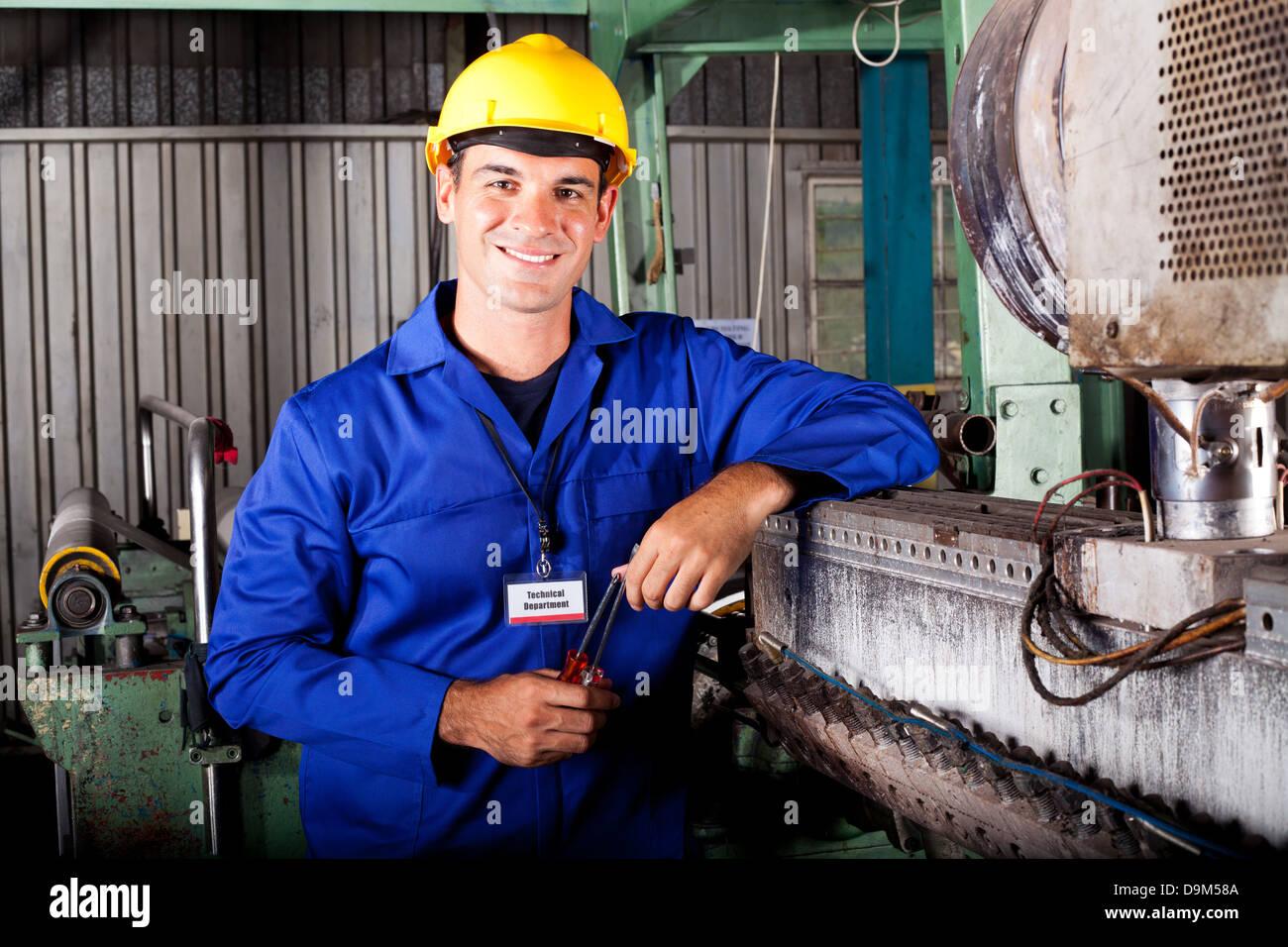 industrielle mechanische Techniker Porträt in Fabrik Stockbild