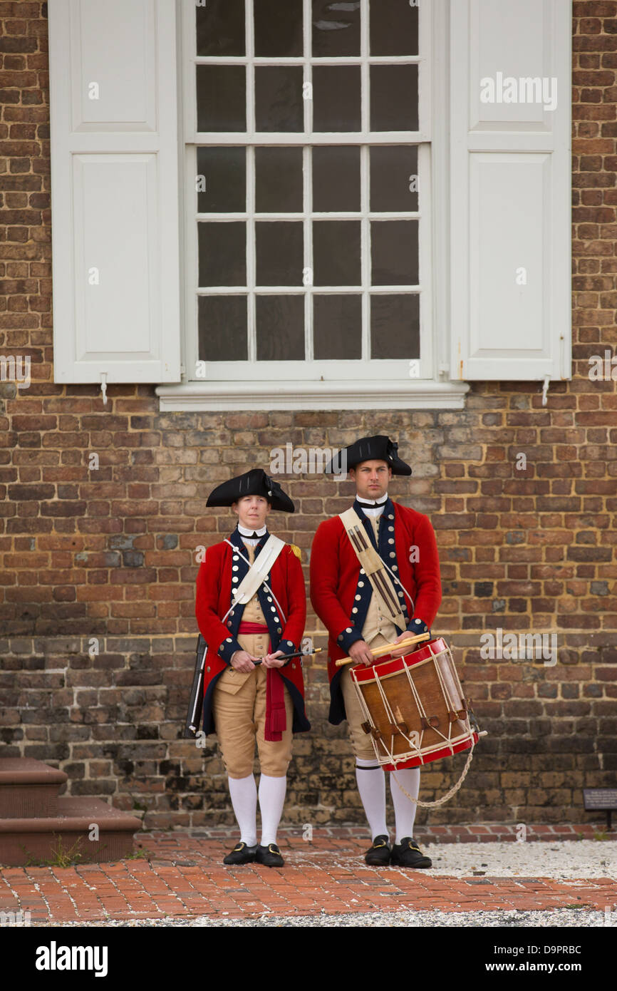 Revolutionäre Krieg Soldaten am Colonial Williamsburg, Virginia, USA Stockbild
