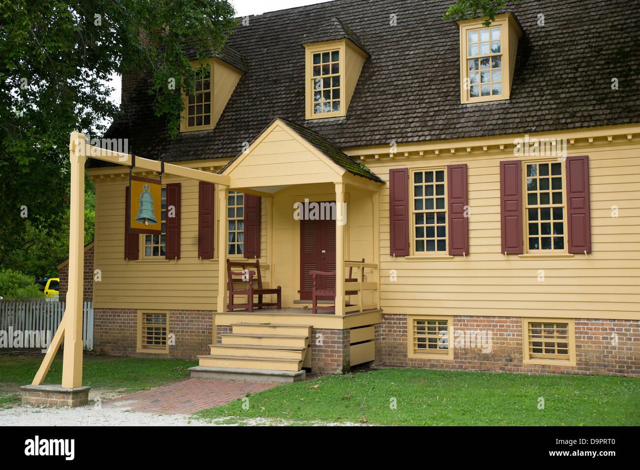Historisches Haus in Colonial Williamsburg, Virginia, USA Stockbild